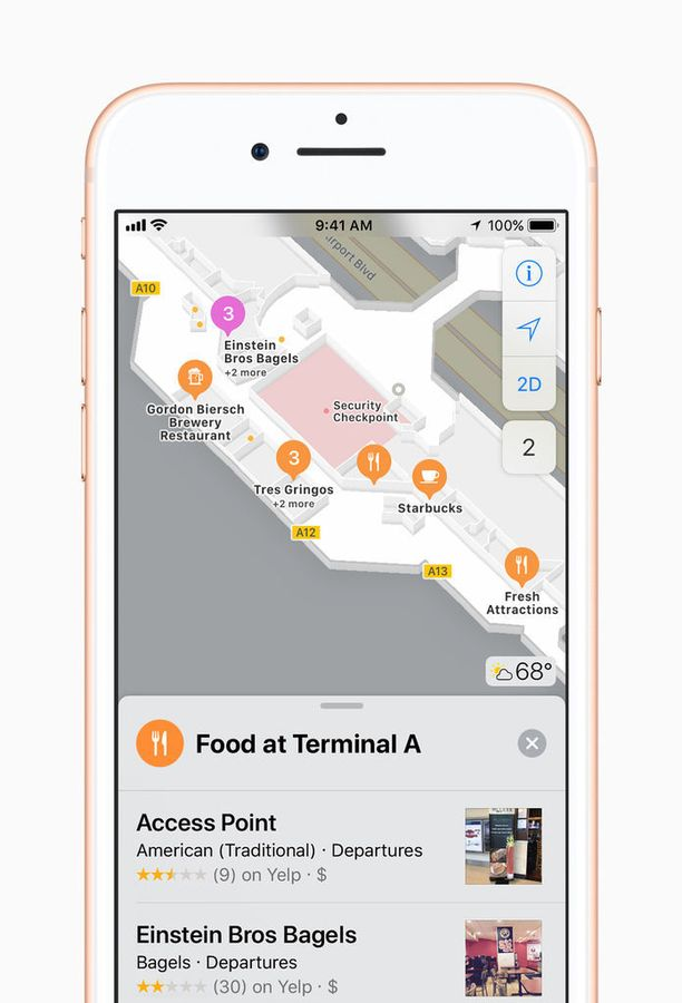 Applen karttasovellus helpottaa navigointia lentokentillä ja ostoskeskuksissa.