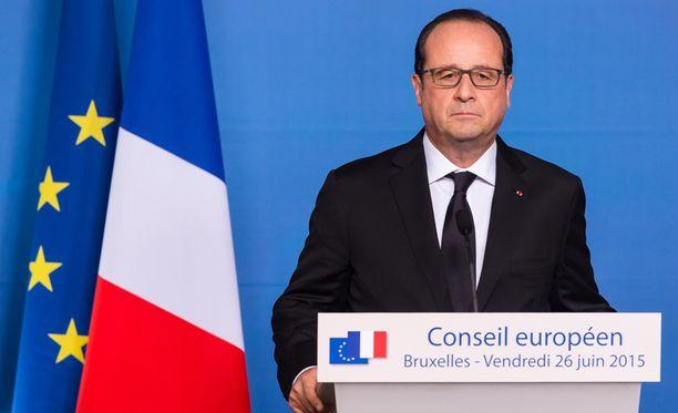 Ranskan presidentti Francois Hollande puhui EU-kokouksessa Brysselissä terrori-iskusta.