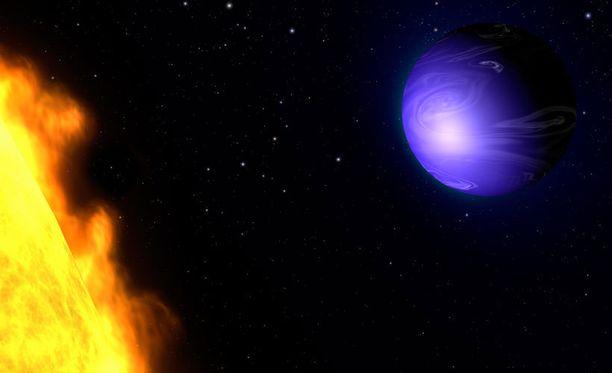 Taiteilijan näkemys planeetta HD 189733b:stä.