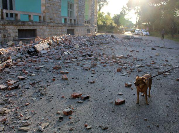 Yliopistorakennus on tuhoutunut pääkaupunki Tiranassa maanjäristyksissä.