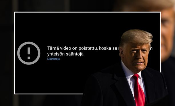 Youtube on poistanut Trumpin videoita ja estänyt uusien julkaisemisen.