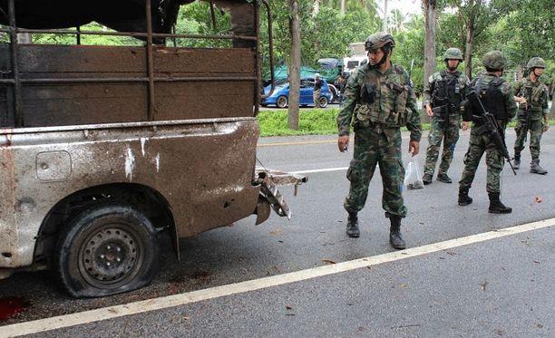 Thaimaan eteläosa on pitkään kärsinyt levottomuuksista. Arkistokuva Narathiwatista pommiräjähdyksen jälkeen vuonna 2015.
