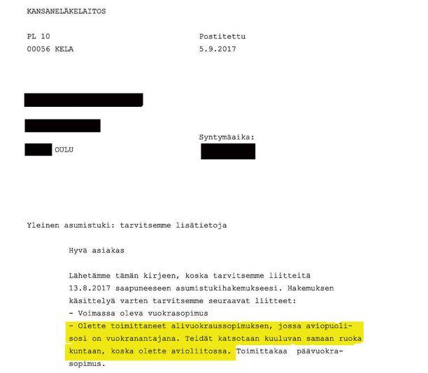 Syyskuun 5. päivänä lähettämässään kirjeessä Kela väitti vuokralaisen olevan avioliitossa vuokraemäntänsä kanssa.