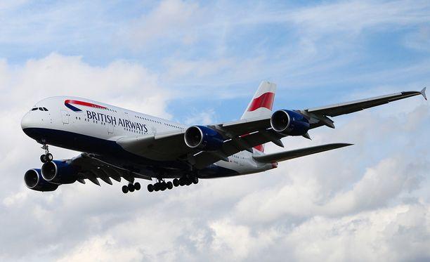 British Airwaysin Airbus A380 oli matkalla Lontoosta Johannesburgiin.
