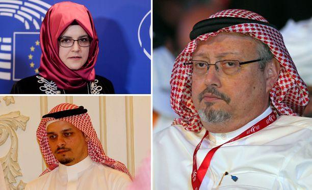 Toimittaja Jamal Khashoggin (kuvassa oikealla) murhasta langetetut kuolemantuomiot ovat jakaneet mielipiteitä. Kihlattu Hatice Cengiz vastustaa niitä, poika Salah Khashoggi puolustaa.