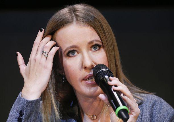 Presidentiksi pyrkivä Ksenia Sobchak on saanut paljon mediahuomiota.