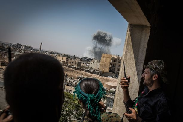 Yhdysvallat tukee Syyriassa kurdienemmistöistä SDF-koalitiojoukkoa, joka valloitti vuosi sitten Raqqan Isisiltä. Arkistokuva Raqqasta elokuulta 2017.