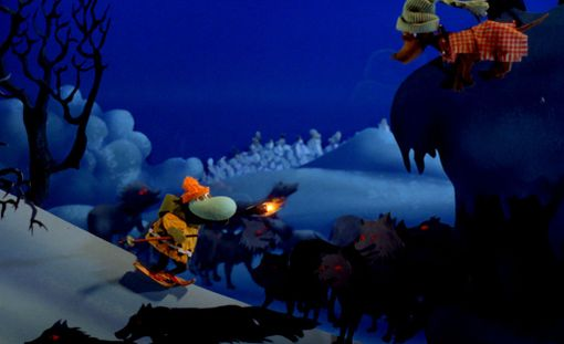 Kuva kohtauksesta, jossa Surku-koira joutuu susien piirittämäksi.