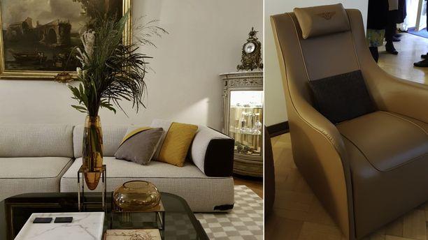 Sohvien jalattomuus on keski-eurooppalainen mauste. Bentleyn nojatuolissa voi nähdä autojen muotokieltä.