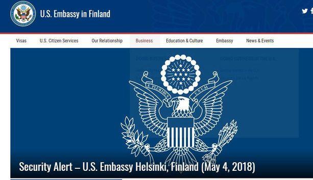 Terroriuhasta kertova tiedote ja toimintaohjeet julkaistiin suurlähetystön verkkosivulla perjantaina.