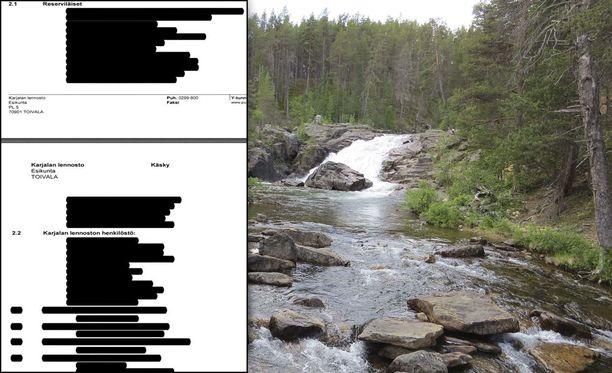 Karjalan lennoston harjoituskäskyssä oleva osallistujaluettelo Lemmenjoen syyskuun 2017 vapaaehtoiseen harjoitukseen on salassa pidettävää tietoa.