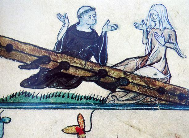 Kuva munkista rakastajattarensa kera on 1300-luvulta.