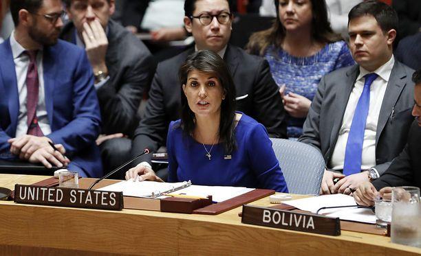 Yhdysvallat liittolaisineen on luonnostellut uuden päätöslauselmaehdotuksen. Kuvassa Yhdysvaltain YK-suurlähettiläs Nikki Haley.