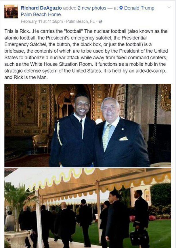 Entinen pankkiiri Richard DeAgazio poseerasi Trumpin klubilla ydinsalkkua kantavan Rickin kanssa. Hän julkaisi kuvia myös Trumpin muusta seurueesta.