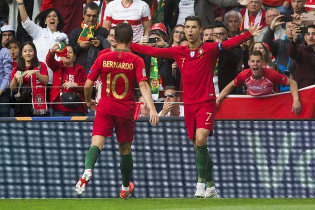 Cristiano Ronaldo tuuletti peräti kolme kertaa Kansojen liigan välierässä.