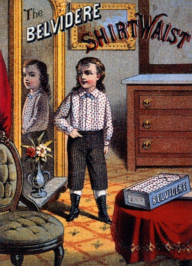 The Belvidere Shirt Waist -kortti vuodelta 1885.