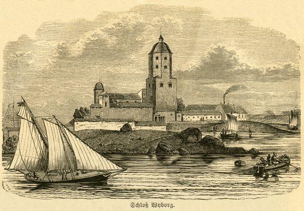 Piirros Viipurin linnasta vuonna 1876 julkaistusta saksalaisesta kirjasta. Kirja käsitteli silloista Venäjää.