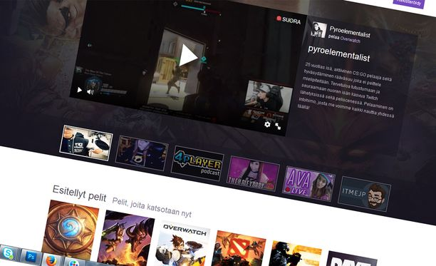 Twitchissä seurataan pelaajien suoria lähetyksiä peleistään.