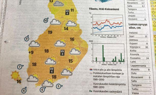Tältä näytti Suomi tänään -kartta osassa Helsingin Sanomien painettuja lehtiä.