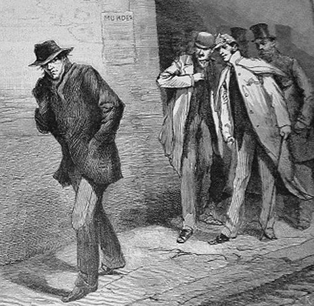 The Illustrated London News -lehdessä 13. lokakuuta vuonna 1888 julkaistu piirros kuvaa naapurivartioston seuraamassa epäilyttävää, Viiltäjä-Jackiksi epäiltyä hahmoa.