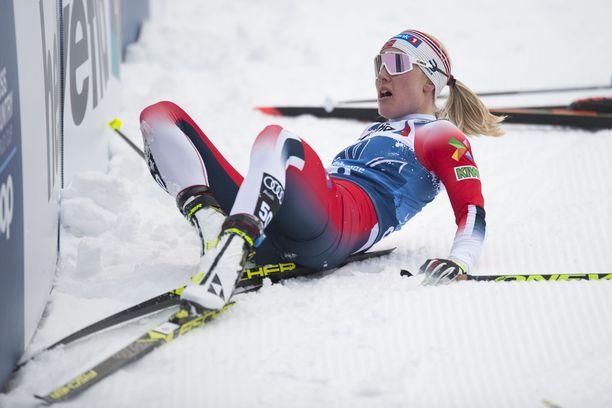 Norjalaishiihtäjä Ragnhild Haga, 28, on törmännyt seinään.