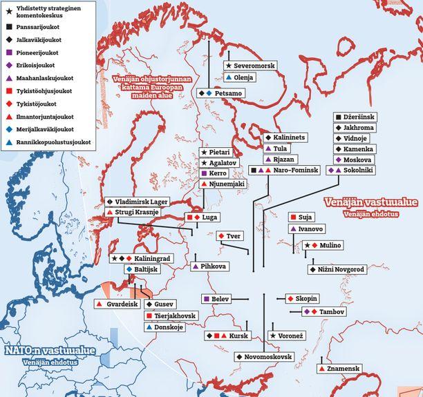 KLIKKAA GRAFIIKKA SUUREMMAKSI. Karttaan on merkitty Venäjän läntiseen komentokeskukseen kuuluvien joukkojen sijoituspaikat ja Venäjän esittämät ohjuspuolustussektorit.