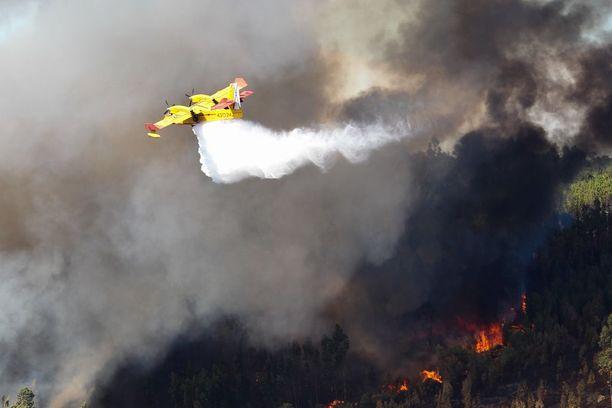 Lentokone suihkutti perjantaina vettä metsäpalon päälle Abrantesissa Keski-Portugalissa.
