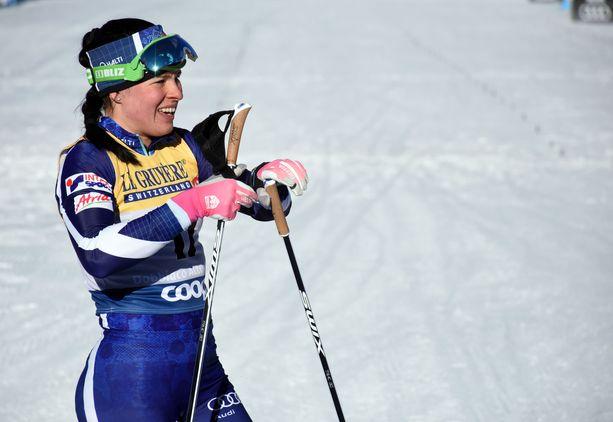 Krista Pärmäkoski nähdään sprintin erävaiheessa.