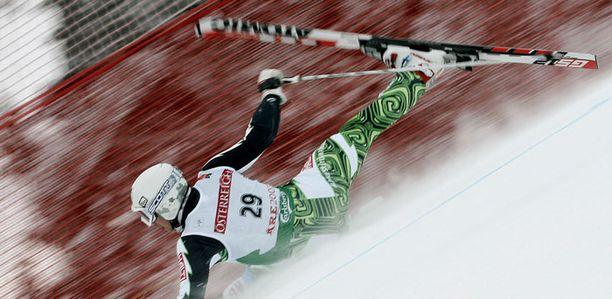 Marcus Sandell kaatui hengenvaarallisesti syyskuussa. Tämä kuva on kuitenkin Åren MM-kisoista 2007.