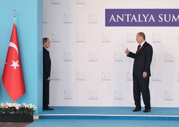 Venäjän ja Turkin presidentit on viime vuosina tallennettu usein kuviin ja miesten välit ovat vaikuttaneet lämpimiltä. Kuva otettu 15. marraskuuta.