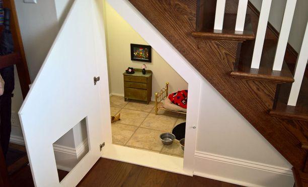 Koira pääsee kulkemaan luukun kautta, vaikka ovi olisikin kiinni.