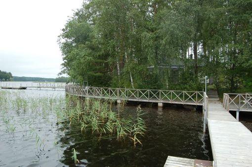 Sauna sijaitsee aivan järven rannassa.
