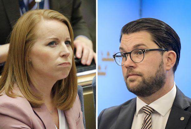 Ruotsin keskustapuolueen puheenjohtaja Annie Lööf ja ruotsidemokraattien puheenjohtaja Jimmie Åkesson.