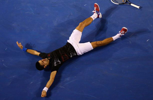 Novak Djokovic otti pikalevon 31 lyönnin pallon jälkeen.