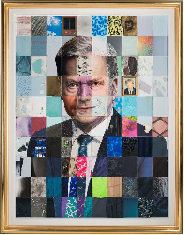 Presidentti Sauli Niinistön virallinen muotokuva on sadan taiteilijan teoksesta koostettu mosaiikki.
