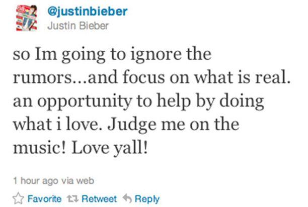 """Justin Bieber kiisti vauvahuhut Twitter-sivullaan. """"Aion jättää juorut huomiotta... ja keskittyä siihen mikä on totta. Mahdollisuus auttaa tekemällä sitä mitä rakastan. Tuomitkaa minut musiikin perusteella! Rakastan teitä kaikkia!"""""""