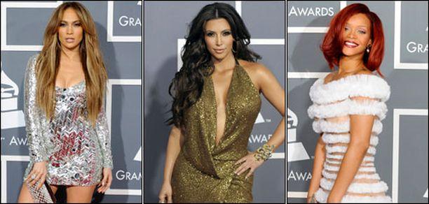 Jennifer Lopez, Kim Kardashian ja Rihanna pitivät huolen siitä, että heidät taatusti huomataan.