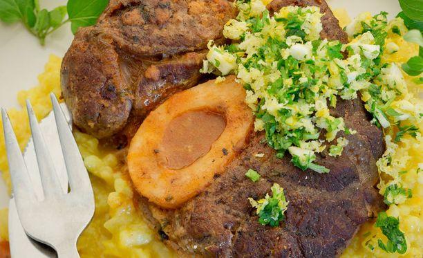 Lihan päälle ripoteltava mausteseos on nimeltään gremolata.