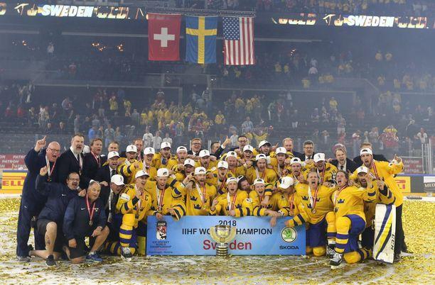 Ruotsi juhli viime keväänä MM-kultaa Kööpenhaminassa voitettuaan loppuottelussa Sveitsin rankkareilla.