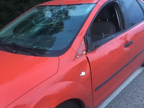 Hirven törmäys vaurioitti auton sivuikkunaa ja tuulilasia.