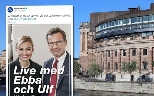 """Ruotsin pääministerikandidaatti """"kasvoi"""" mainoskuvassa naiskollegan ohi – somekansa pillastui: """"Pakottivatko ne Ebban kyykkyyn?"""""""
