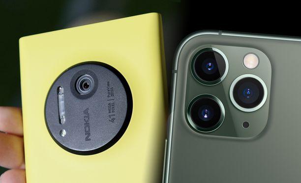 Vasemmalla Nokia Lumia 1020 ja oikealla Iphone 11 Pro.