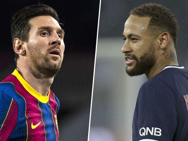 Lionel Messi (vas.) saa vastaansa Neymarin Mestarien liigan neljännesvälierissä, jos brassitähden tuore nilkkavamma ei estä pelaamista.