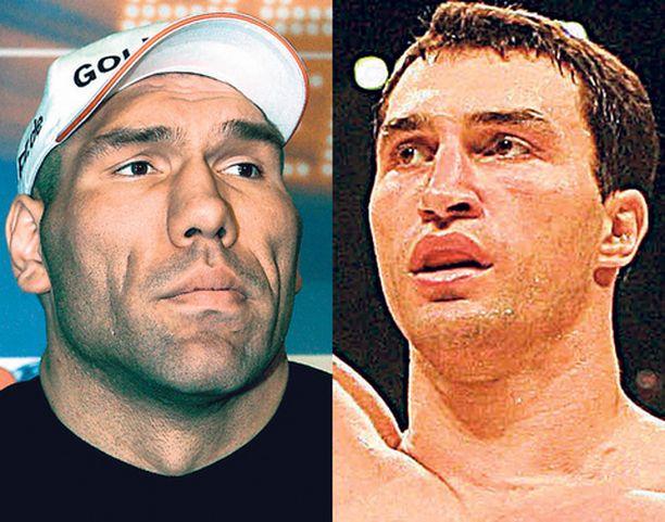 Nyrkkeilymaailmaa puhuttavan kohtaamisen odottaminen kysyy kärsivällisyyttä. Valujev (vas.) pitää hallussaan WBA- ja Klitshko IBF-liiton vyötä.