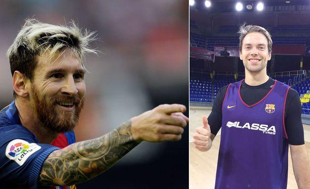 Leo Messi ja Petteri Koponen ovat molemmat Audilla autoilevia Barcelonan miehiä.