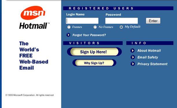 Vuoden 1999 Hotmail.