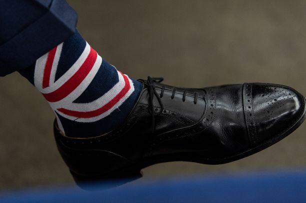 Tällaisia sukkia Nigel Farage käytti lokakuussa EU-parlamentissa.