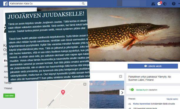 Matti jakoi kalavarkaasta kertovan kirjoituksen myös Facebook-sivuillaan.
