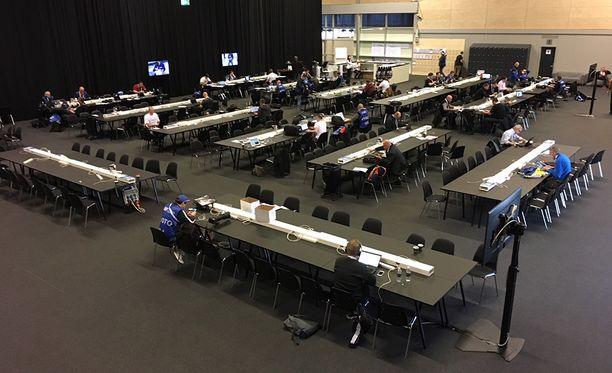 Tältä näyttää MM-kiekon mediakeskus Herningissä.