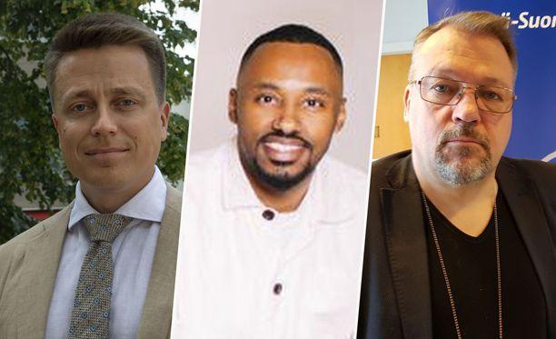 Atte Kaleva (kok), Suldaan Said Ahmed (vas) ja Jari Kinnunen (kok) ovat kohta kansanedustajia.